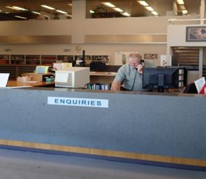 The front desk of the State Records office.