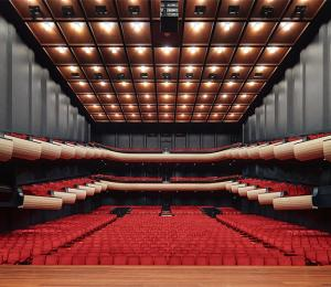 Looking from the stage of the Perth Concert Hall outward to the seats.